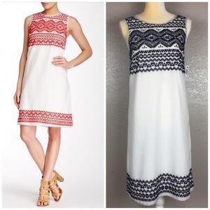 Max Studio Navy & White Embroidered Sheath Dress